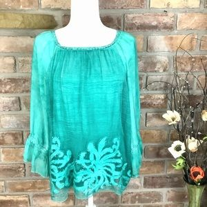 TEMPO PARIS Sequined/Embroidered Teal Blouse SZ-S